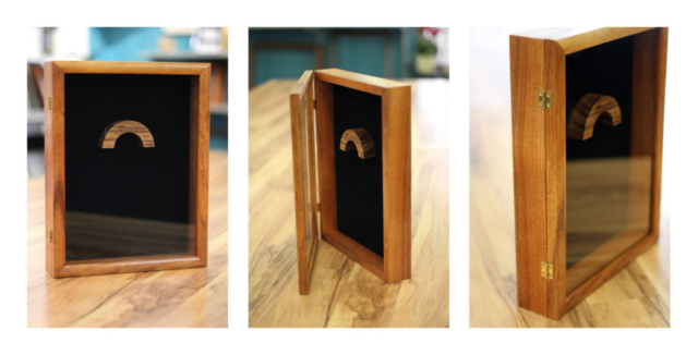 Hinged Koa Display Box, Black Velvet Backing, Magnetic Closure