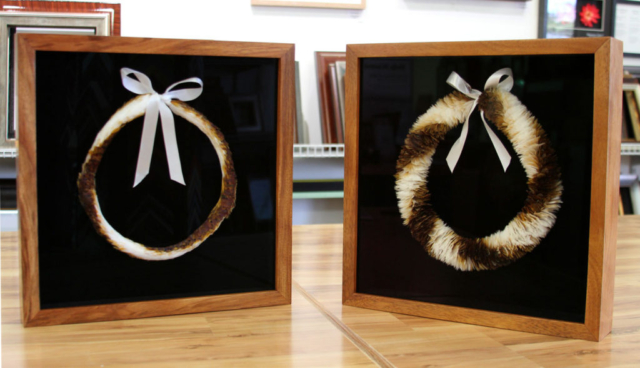 Feather lei - Koa shadowbox frames.